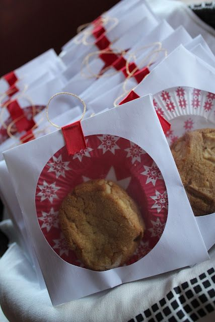 Simple Packaging Idea. CD sleeve and a cupcake liner. Inexpensive and great idea for bake sale jumbo cookies & maybe even pound cake slices or brownies. Interesting idea for sure.