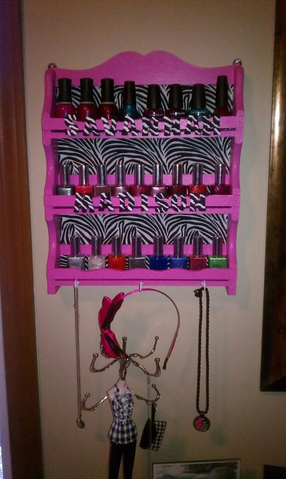 a boring spice rack to a nail polish rack :): Nail Polish Storage, Nails Polish Storage, Nails Polish Racks, Nails Polish Holders, Bored Spices, Awesome Ideas, Spices Racks, Nail Polish Holder, Diy Nails