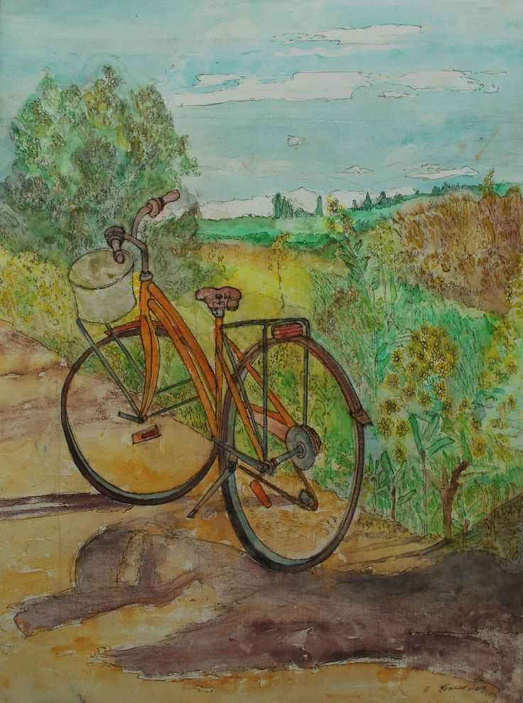 title: The bicycle on Marcialla (toscany) watercolor / acquarelle height: 60 cm  width:  45 cm made by Enrico Napoletano  in Florence (Italy); photo by EN unique piece