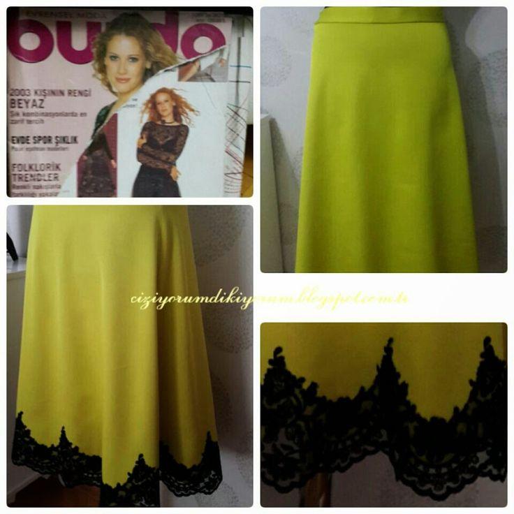 EVAZE ETEK DİKTİM:) ( I SEWED A FLARED SKIRT:)) #dikiş #sewing #skirts #etekler #flared #evaze #design #tasarım #kadın #moda #fashion