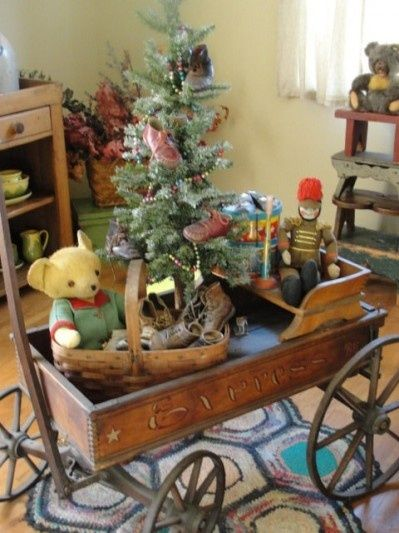 Antique toy Xmas display.