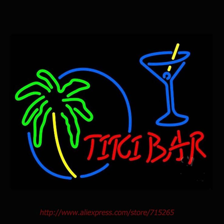 Tiki Bar With Wine Glass Neon Sign Neon Bulbs Led Signs Real Glass Tube Handcrafted Recreation Room Windows Iconic Sign 18x24 #Affiliate