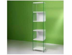 Byblos libreria in vetro - Libreria da 45 cm, con fianchi portanti in vetro temperato da 10 mm e ripiani in laminato da 25 mm  Dimensioni: cm. 45x36x205h  Colori disponibili: Bianco, Olmo tranché  Prodotto interamente realizzato in Italia