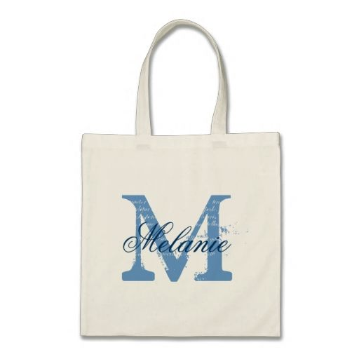Personalized monogram tote bag | blue and white tote bag