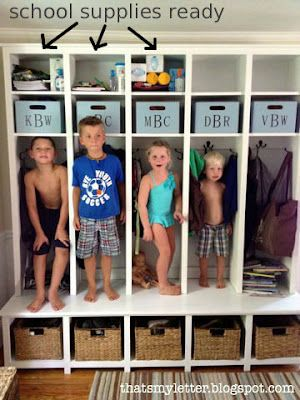 blueprints for mudroom lockers | UPDATE: I built bins to fit the first shelf space :