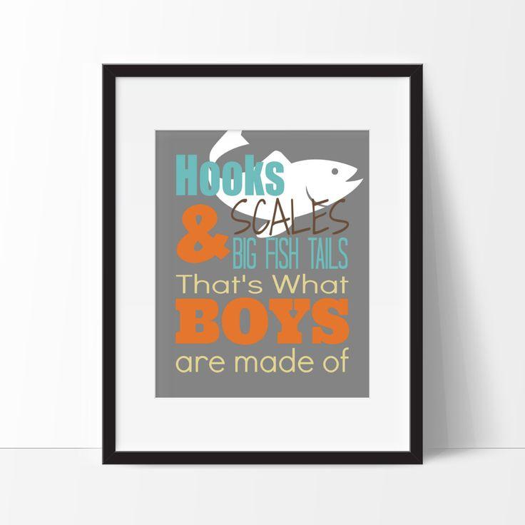 Fishing Decor, Hooks, Scales & Big Fish Tails Print, Boy's Room Decor, Fishing Nursery, Fishing Art, Fishing Typography, Nursery Decor by SimplyLoveCreations on Etsy https://www.etsy.com/listing/207454012/fishing-decor-hooks-scales-big-fish