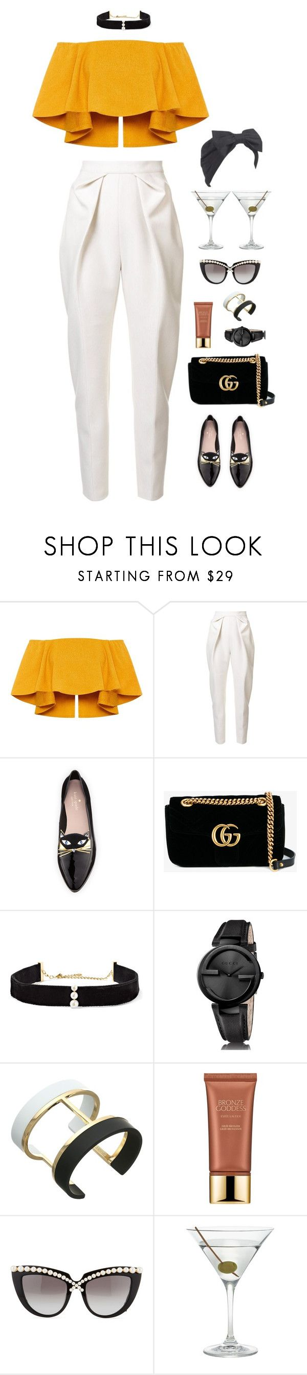 """""""Invisible Tan Lines"""" by xoxomuty on Polyvore featuring Delpozo, Kate Spade, Gucci, Anissa Kermiche, Vince Camuto, Estée Lauder, Anna-Karin Karlsson, Nordstrom, Beauxoxo and polyvoreOOTD"""