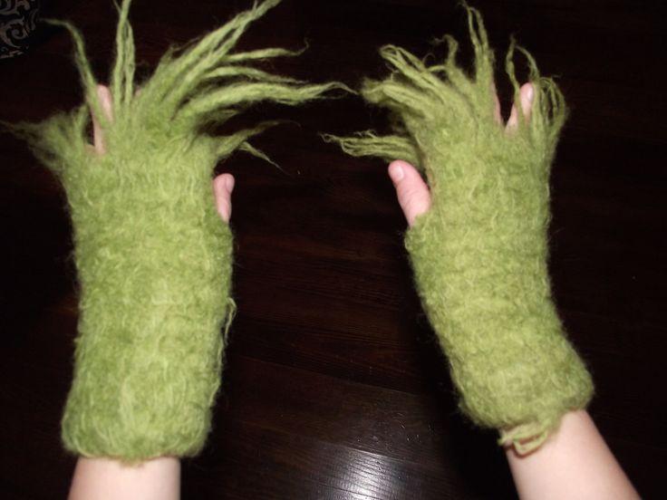 Grinch Hands Fingerless Gloves  Request  Men's size s m by czappit. , via Etsy.