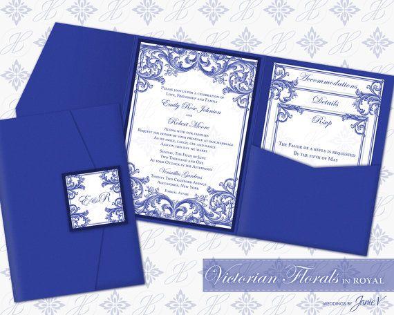DIY Printable Wedding Pocket Invitation Template   Printable Pocket Invitation (wide)   Victorian Florals in Royal