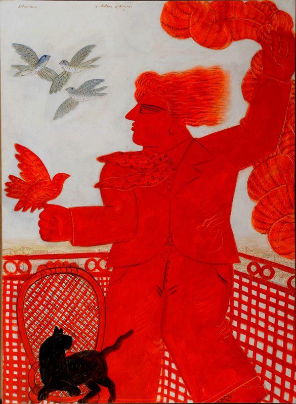 Au balcon d'Athènes  Alecos Fassianos  Oil on Canvas 55,5 x 40 in.  OPERA GALLERY PARIS