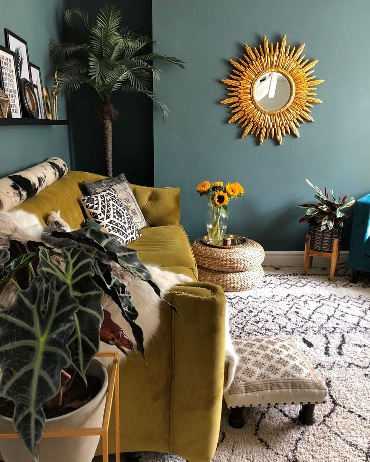 Dark Interiors Living Room. Dark Green Walls, Mustard
