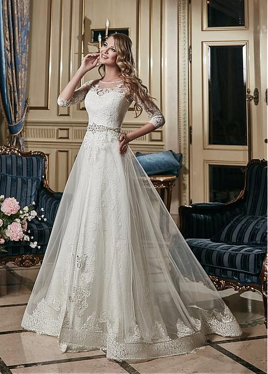 Stunning Tulle Bateau Neckline 2 In 1 Wedding Dress With Lace Appliques SemiAnnual Sale