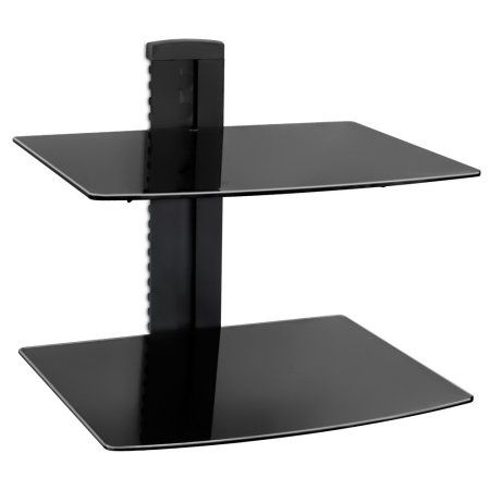 Mount-It! Floating Wall Shelf with 2 Tempered Glass Shelves for DVD Players / Cable Boxes / Xbox One / PlayStation, Single Stud, Black (DVD-212) - Walmart.com