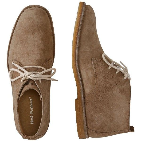 Hush Puppies Desert II Boots ($99) ❤ liked on Polyvore featuring men's fashion, men's shoes, men's boots, shoes, men, taupe, mens shoes, mens leather lace up shoes, mens army boots and mens breathable shoes