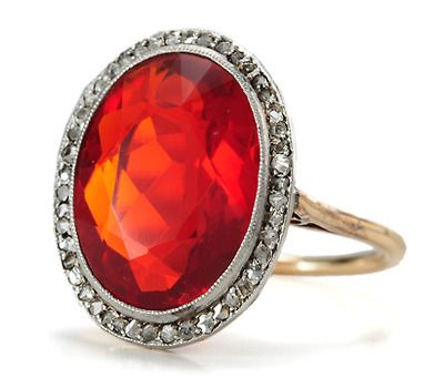 Images of 1920s Setting Sun: Diamond & Fire Opal Ring - The Three Graces