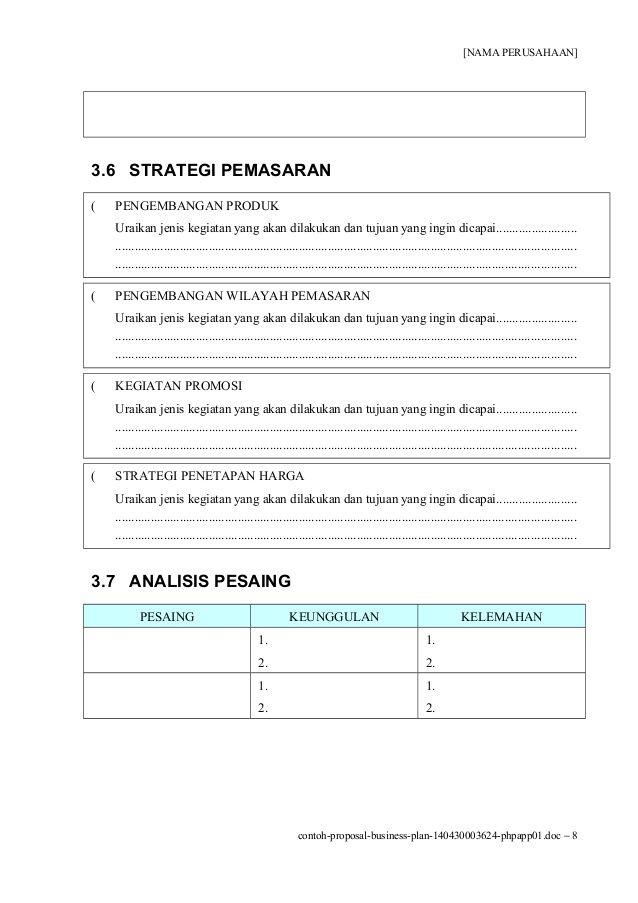 Contoh Proposal Usaha atau Rencana Bisnis | Proposal, Pengusaha, Jenis