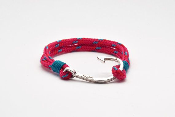 Nautical bracelet with silver hook clasp fuchsia by Beh1ndByMK