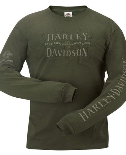 Harley Davidson Mens Distressed Letters Olive Green Long Sleeve Pocket T Shirt | eBay