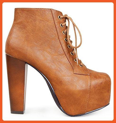 Marco Republic Cosmopolitan Womens Platform Wedges High Heels Pumps Boots - (Tan) - 6.5 - Boots for women (*Amazon Partner-Link)