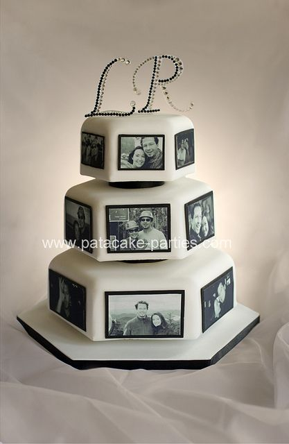 edible photo wedding cake. Love this. Just need some pink roses and a little wedding couple on top