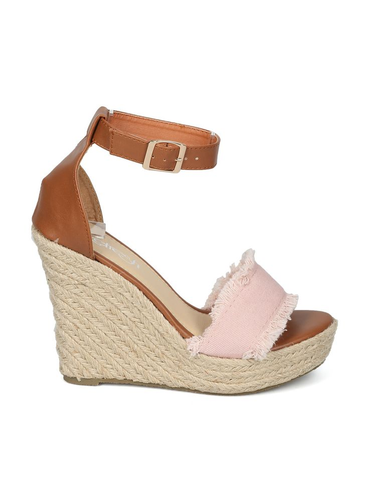 Shoes Refresh HH27 Women Open Toe Frayed Ankle Strap Espadrille Platform  Wedge Sandal
