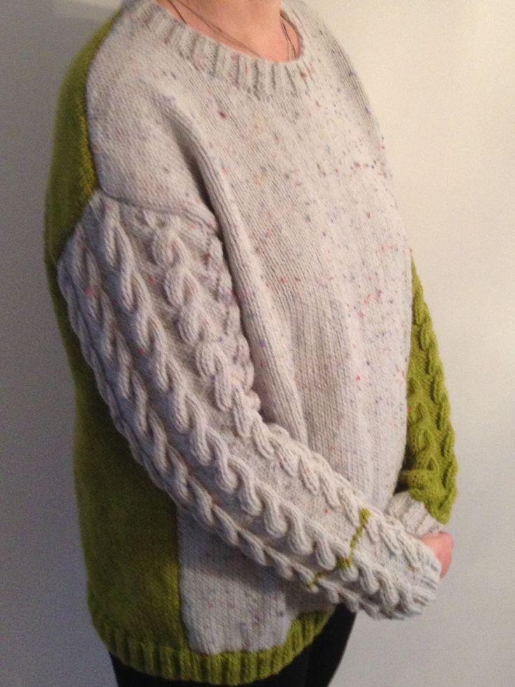 Leftover aran makes lovely warm comfy reading and snuggling jumper