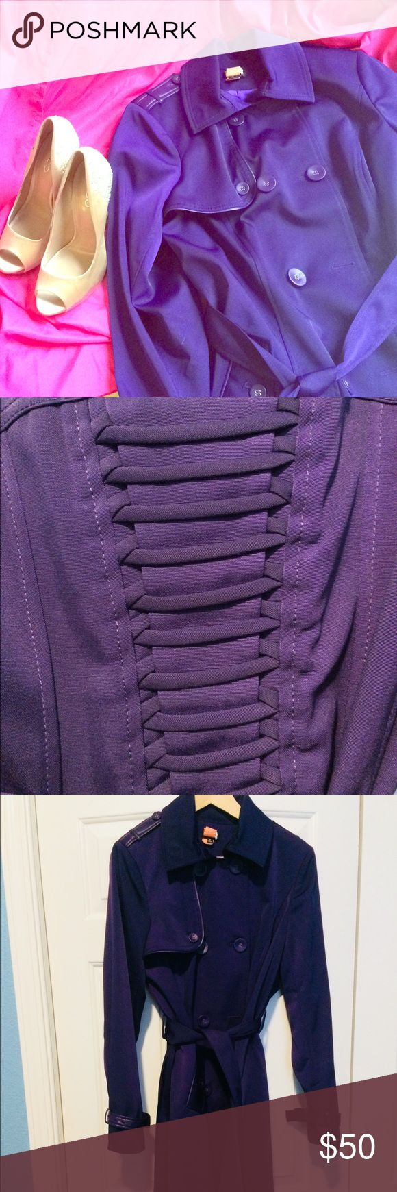 """Plus Size Purple Trench Coat/Jacket NWOT Valentines Day is coming up why not let this be the trench coat you meet up with your boo in with that perfect piece of lingerie!   Such a cute purple jacket all you need is a red or lime green tote to pair this with. And the interwoven back is everything!  City Chic size says small and according to the site that's a size """"16""""  *No trades  Fabric  Main: 80% Polyester  17 % Cotton 3% Elastane  Contrast  100% Polyurethane   Lining: 98% Polyester 2%…"""