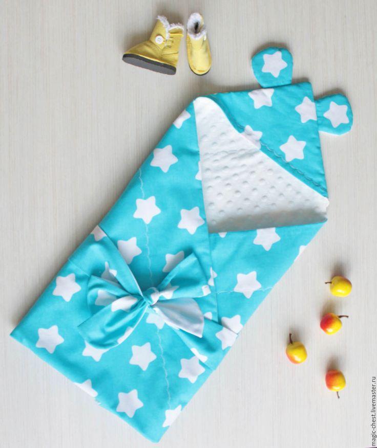 Купить Плед-конверт на выписку летний - тёмно-бирюзовый, рисунок, плед для новорожденного, конверт на выписку