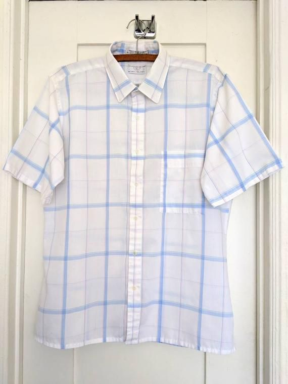 71038737 Vintage 80s Custom Club by Van Heusen Fitted Short-Sleeve Button-Up Collared  Plaid Shirt | Vintage Unisex | Short sleeve button up, Shirts, Vintage  outfits