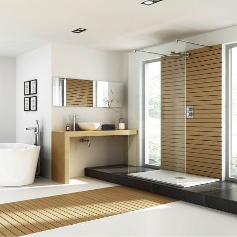 1400x900mm Rectangular White Slate Effect Shower Tray & Chrome Waste