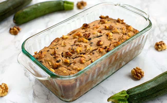 Vegan Zucchini Walnut Bread // Barley flour and agave nectar are used in this sugar- and wheat-free bread studded with zucchini, walnuts, and currants.