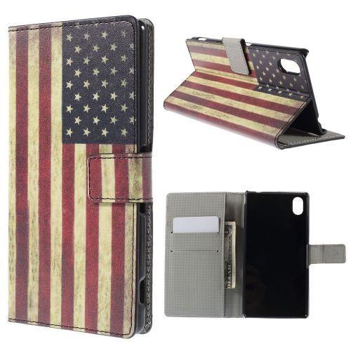 Mesh - Sony Xperia M4 Aqua Hoesje - Wallet Case Vintage Amerikaanse Vlag | Shop4Hoesjes