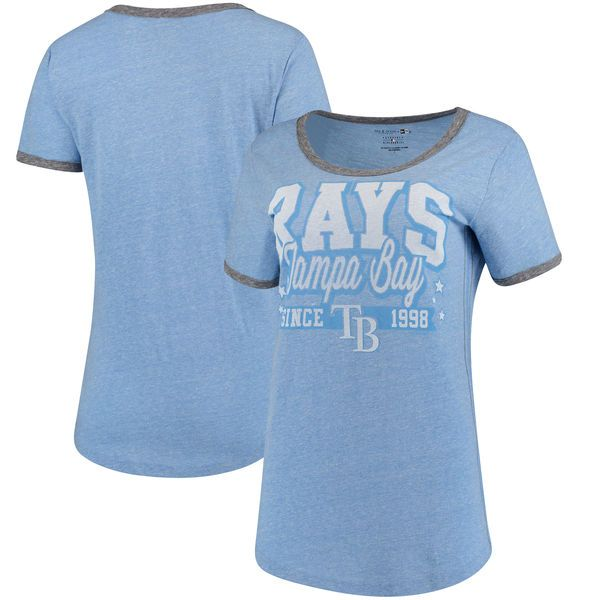 Tampa Bay Rays 5th & Ocean by New Era Women's Jersey Ringer Tri-Blend T-Shirt - Light Blue/Charcoal - $29.99