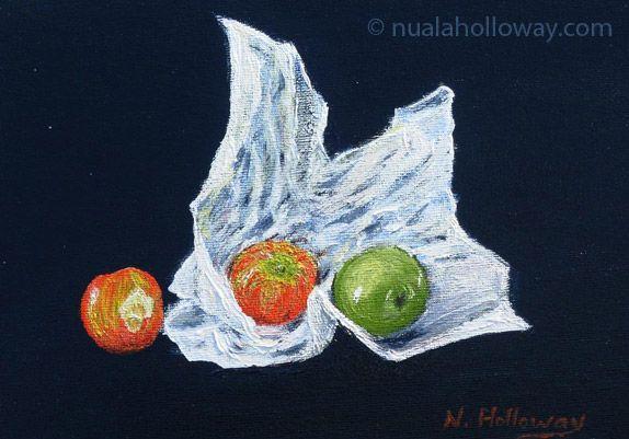 """Once Bitten, Twice Shy"" by Nuala Holloway - Oil on Board www.nualaholloway.com #IrishArt #Nuala Holloway #Apples #StillLife"