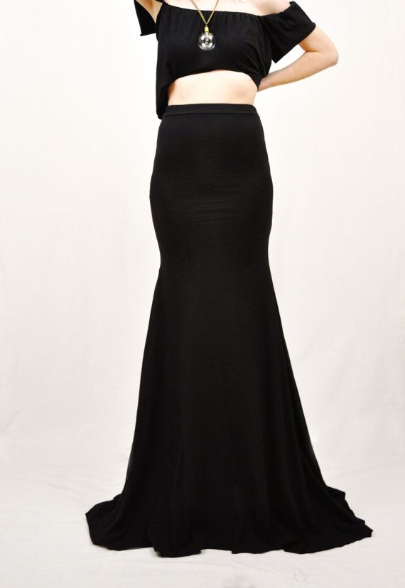 Extra Long Black Maxi Skirt