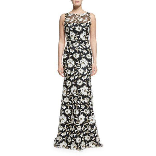 David Meister Floral Sleeveless Illusion Gown ($755) ❤ liked on Polyvore featuring dresses, gowns, blk wht go, floral dresses, david meister gowns, floral evening dresses, floral embroidered dress and floral evening gown