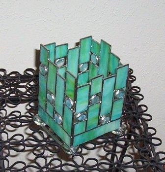 Stained Glass Lamp - Blue & Green Opaque Swirl Glass - Blue Cats Eye Nuggets. $40.00, via Etsy.