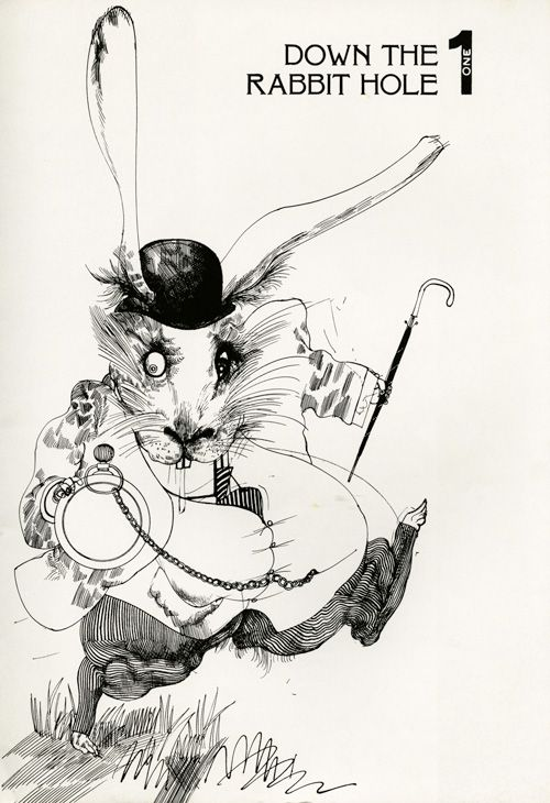 Alice in Wonderland Illustrated by Ralph Steadman: A 1973 Gem | Brain Pickings  Heading down the rabbit hole in April to be part of an immersive production of Alice in Wonderland. We must not be late!