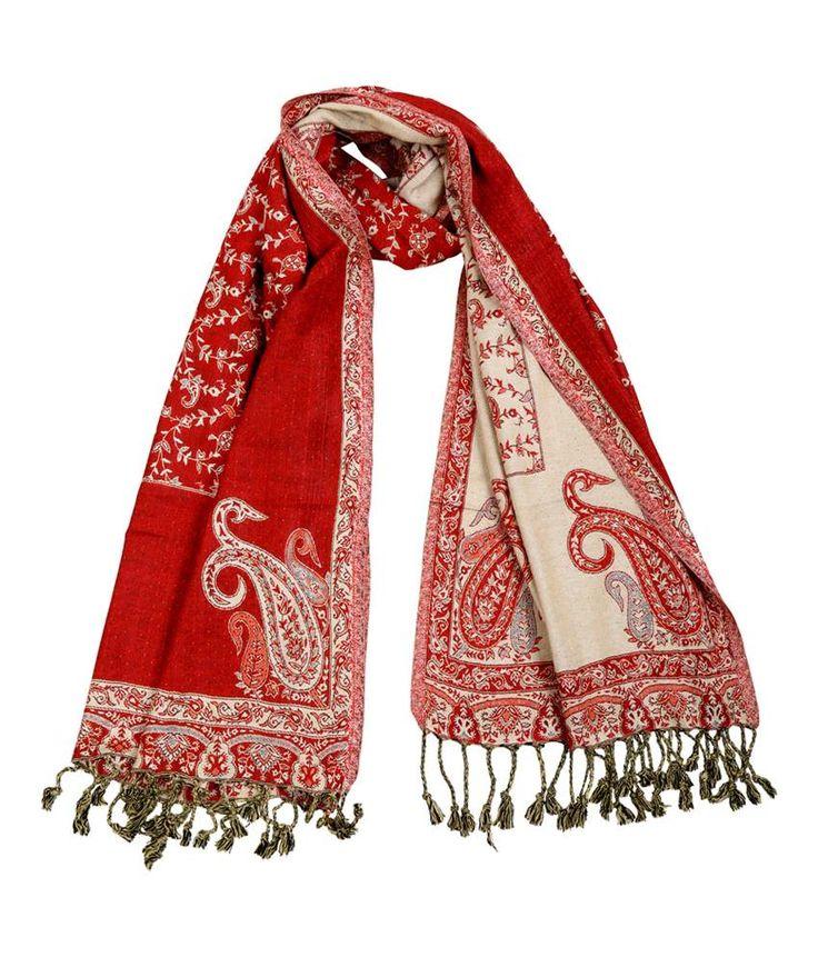 Rajrang Paisley Pattern Red Viscose Self Weaved Casual Wear Stole