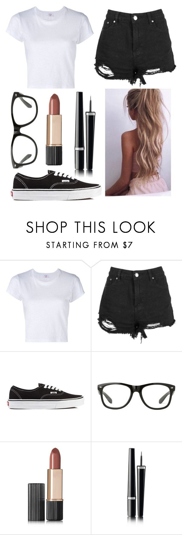 """""""Outfit #33"""" by unicornicamitha on Polyvore featuring RE/DONE, Boohoo, Vans, Estée Lauder and Chanel"""