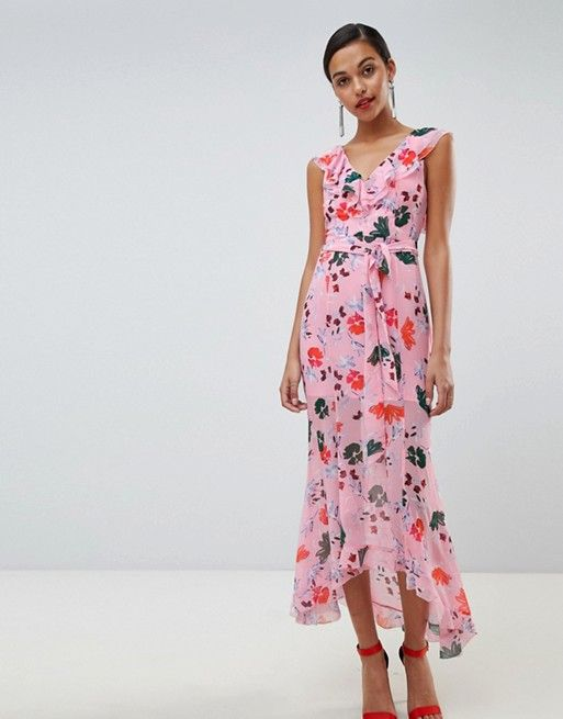 04843eff7dad C/meo Floral Ruffle Midi Dress | Wedding bridesmaids | Dresses ...