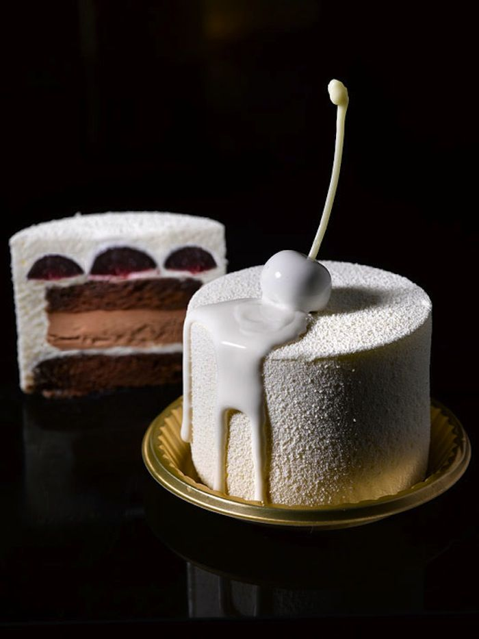 Forêt Blanc [Cocoa genoise, kirsh, dark cherry, chocolate ganache, light kirsh mousse] | Antoinette