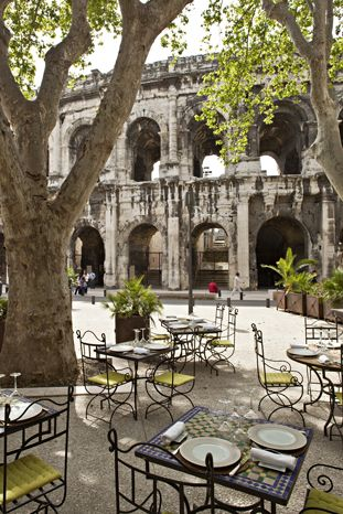 Nìmes Arena le Lisita Restaurant,Provence,France . I love the South of France, but after seeing the coliseum in Rome,the arena was a sleeper!
