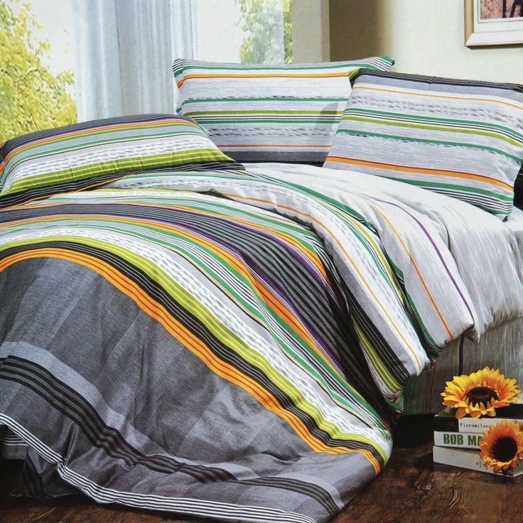 Tonal Stripe 100% Cotton 3PC Comforter Cover/Duvet Cover Combo (Twin Size)