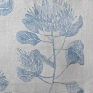 South African Protea patterned fabric by Hertex in blue