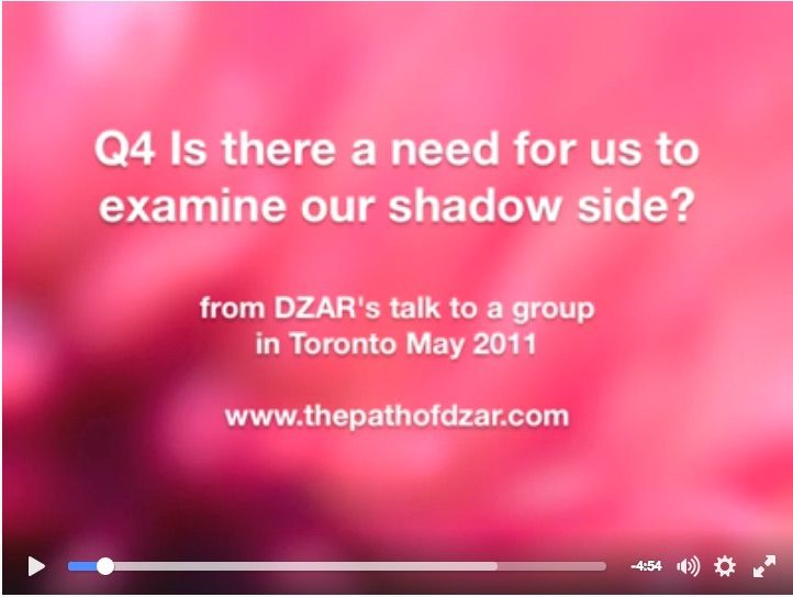 """DZAR answers the question from Toronto, Ontario, Canada -  """"Is there a need for us to look at our shadow selves with open eyes?"""""""