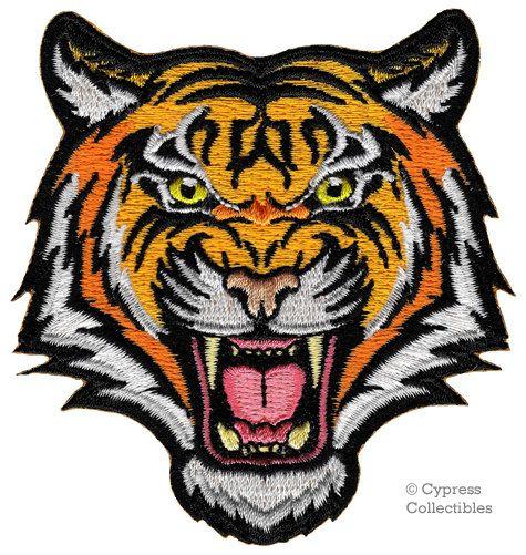 BENGAL TIGER PATCH embroidered iron-on Jungle Safari Souvenir Wild Animal Roaring
