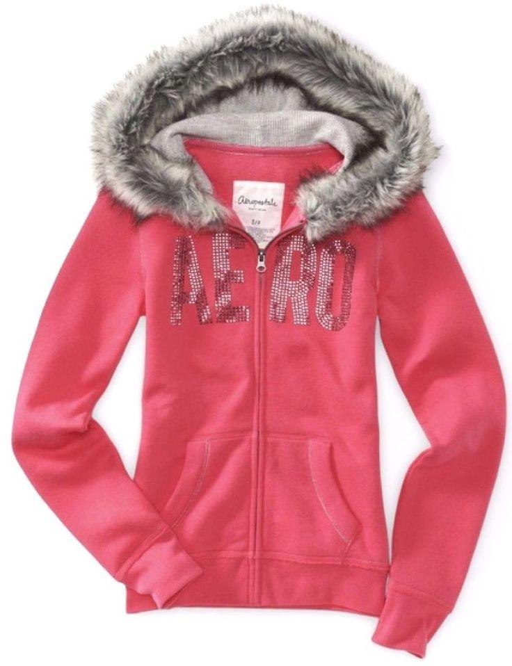 Aeropostale Women's Full Zip Bling Fur Lined Hoodie in Pink Size: Medium #Aeropostale #Hoodie