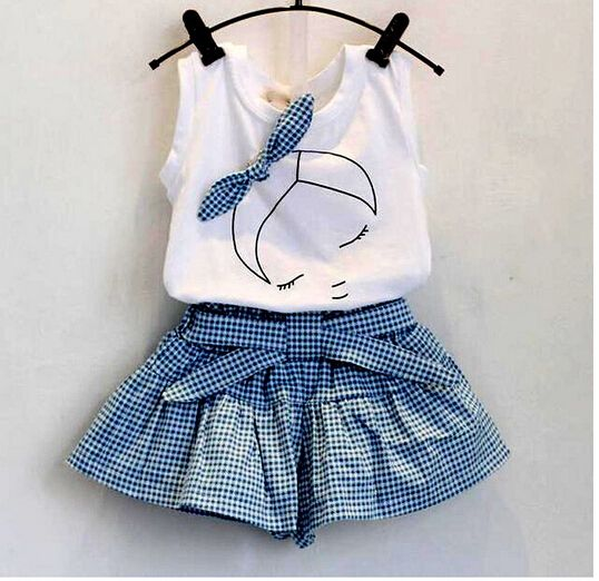 Awesome 2016 baby summer girl clothing Sets fashion Cotton Cartoon Sleeveless T-shirt Tanktop Vest Skirts Shorts girls clothes suits - $13.56 - Buy it Now!
