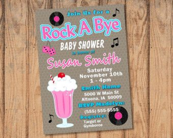 Custom Rock a Bye Baby Shower Invitation 1950's theme